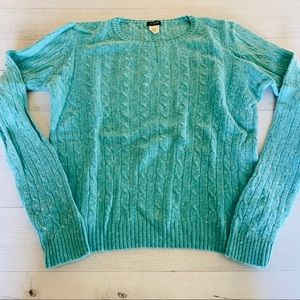 Light Blue Cable Knit Sweater Crew Neck Wool Blend